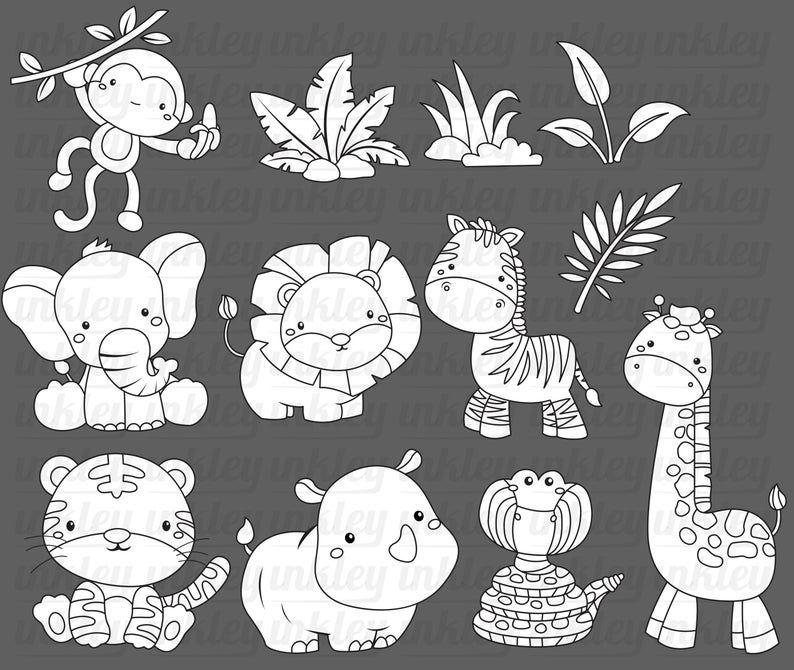 Jungle Animal Clipart Cute Animal Clip Art Black And White Etsy Produccion Artistica Animales De La Selva Svg Gratis