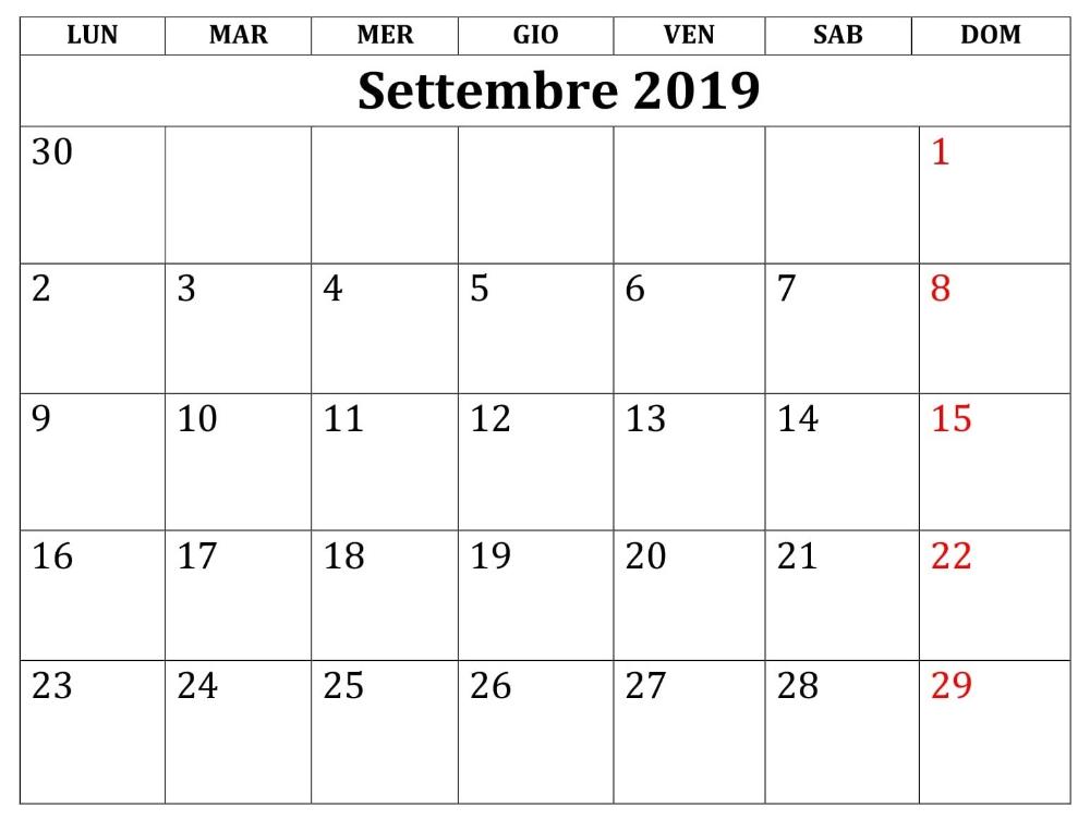 Calendario Ottobre 2020 Excel.Mensile Calendario Settembre 2019 Da Stampare Settembre