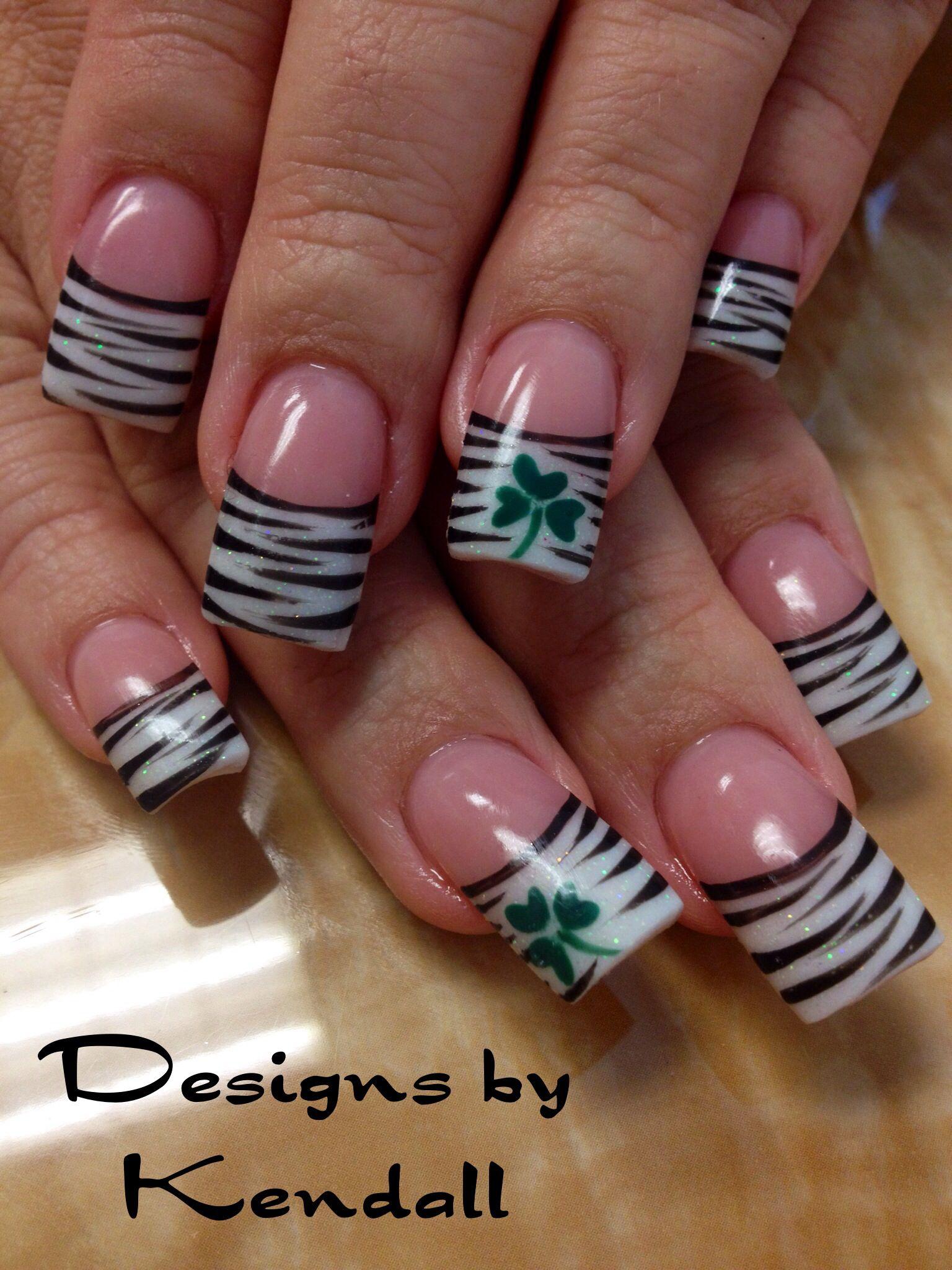 Zebra and shamrock nail designs. - Zebra And Shamrock Nail Designs. Nails By Kendall Pinterest