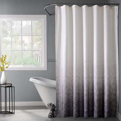 Bungalow Rose Arushi Ombre Fabric Shower Curtain Color Silver
