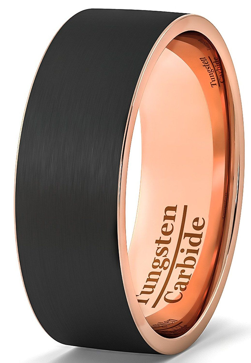 Amazon Com Mens Wedding Band Black Tungsten Ring 8mm Rose Gold Side And Inside Brushed Flat E Black Tungsten Rings Mens Wedding Bands Black Black Wedding Band
