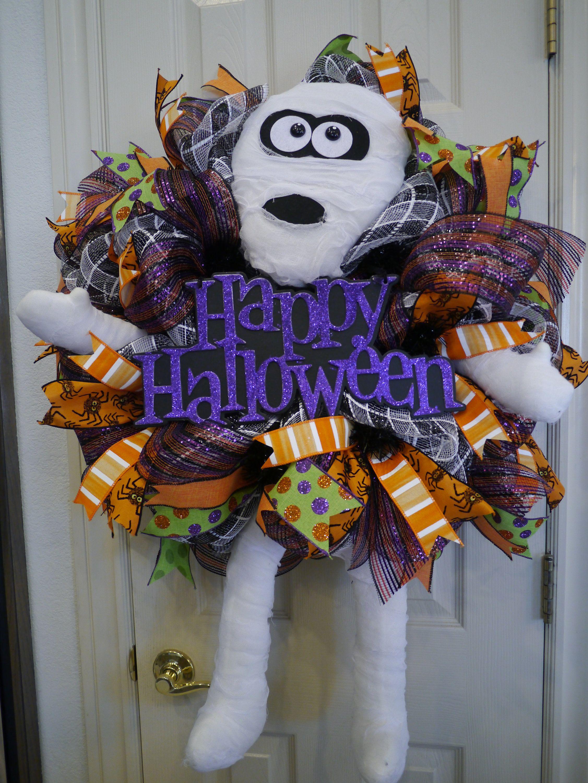 Halloween Wreath, Mummy Wreath, Deco Mesh Wreath, Front Door Wreath,