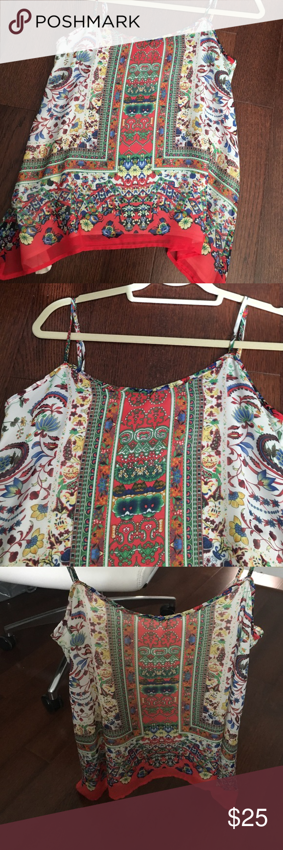 Pattern Shirt Colorful floral pattern silk shirt! Great for work or fun! Rarely worn!! Tops Blouses