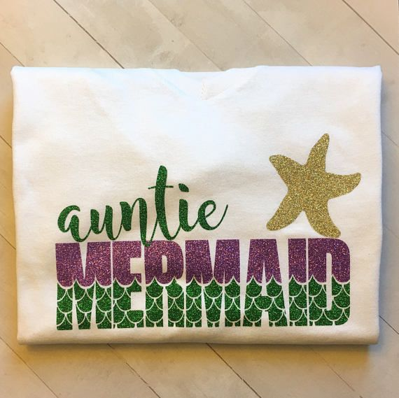 688a5433e Auntie aunt Mermaid t-shirt, shirt, women, Auntie and me, little girl's  mermaid first birthday party