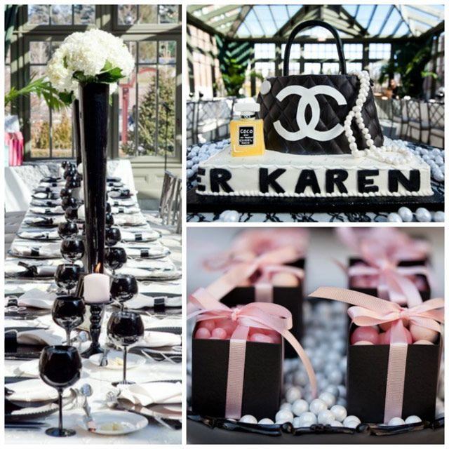 I love Coco Chanel parties. What a fun way to create a stylish affair thats iconic, classic, and even a little decadent! 1. Take a look at this dream bridal shower. There are such pretty touches of pink, like the pink candy in the elegant black favor boxes. Plus, the cake is a showstopper