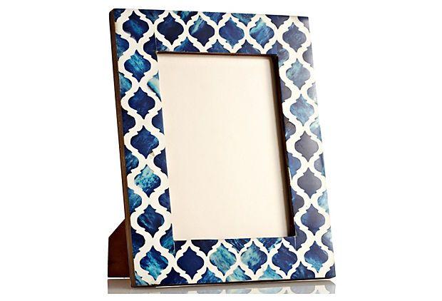 Blue Bone Damask Frame, 5x7 on OneKingsLane.com