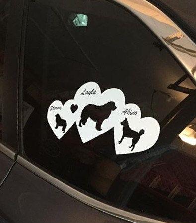 Custom Dog Breed Hearts Car Decal Sticker Custom Car Vinyl Decal - Custom auto decal stickers
