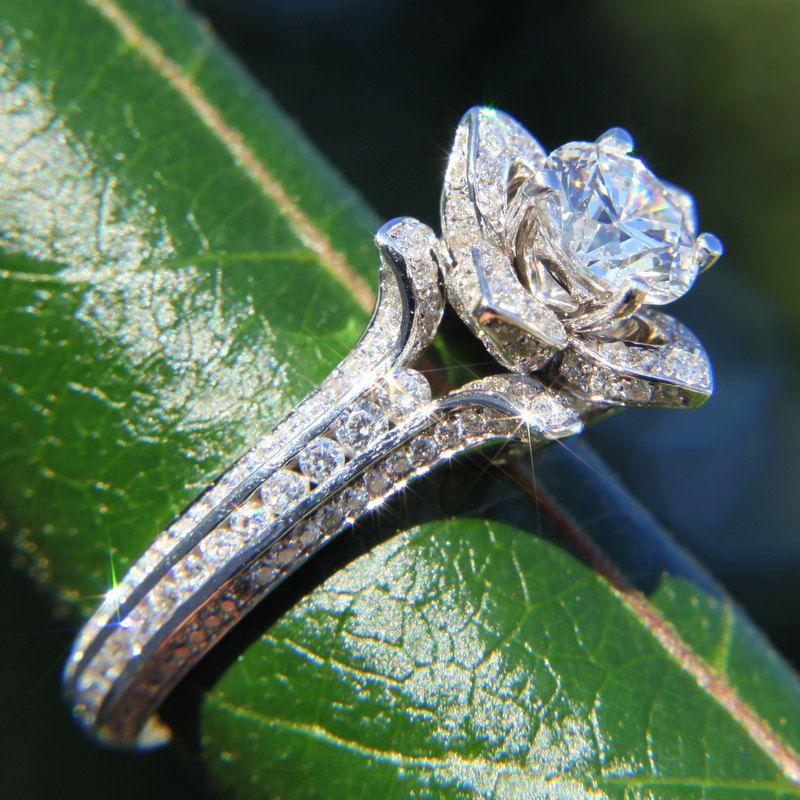 Beautiful Gorgeous UNIQUE Flower Rose Diamond Engagement Ring carat white gold wedding brides custom made art deco Yes