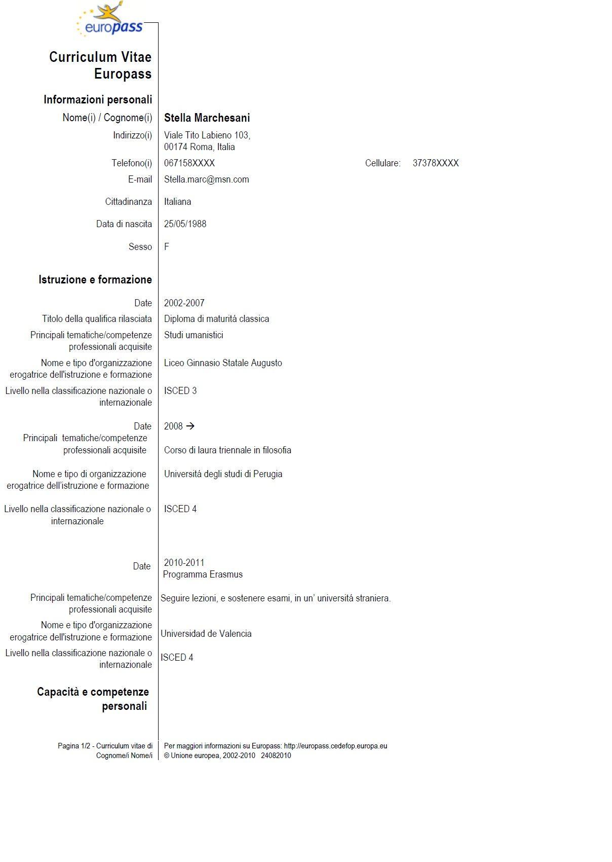 risultati immagini per esempio di curriculum vitae in formato europeo compilato