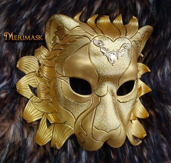 MADE TO ORDER Regal Golden Lion Leather Mask... masquerade cat costume Venetian mardi gras halloween burning man & MADE TO ORDER Regal Golden Lion Leather Mask... masquerade cat ...