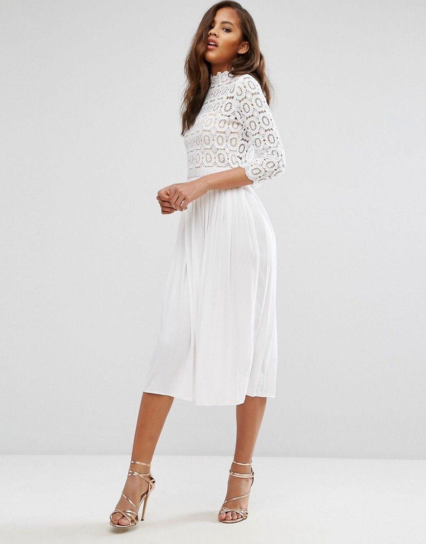 18cdcefd1 Little Mistress Tall 3/4 Sleeve Lace Top Pleated Midi Dress - White