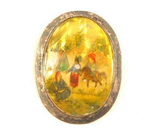 Antique Persian Farm Scene Painted Mother Of Pearl Silver Brooch Pin Pendant*X32
