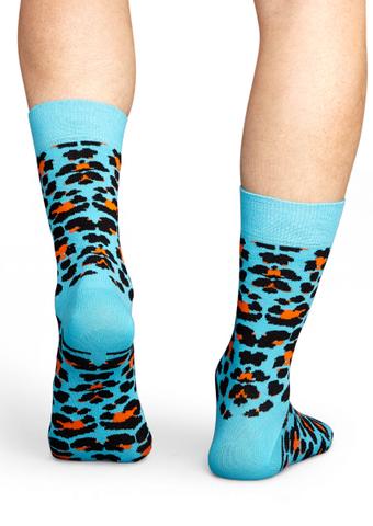Happy Socks Turquoise Leopard Print Long Sock