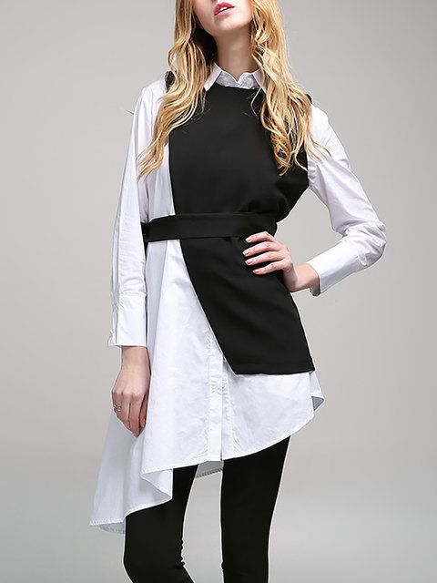 Buy Tunics For Women from Sicily at Stylewe. Online Shopping Stylewe Long Sleeve Black Women Tunics Polyester Statement Shirt Collar Daytime Paneled Tunics, The Best Daytime Tunics. Discover unique designers fashion at stylewe.com. #tunicdesigns