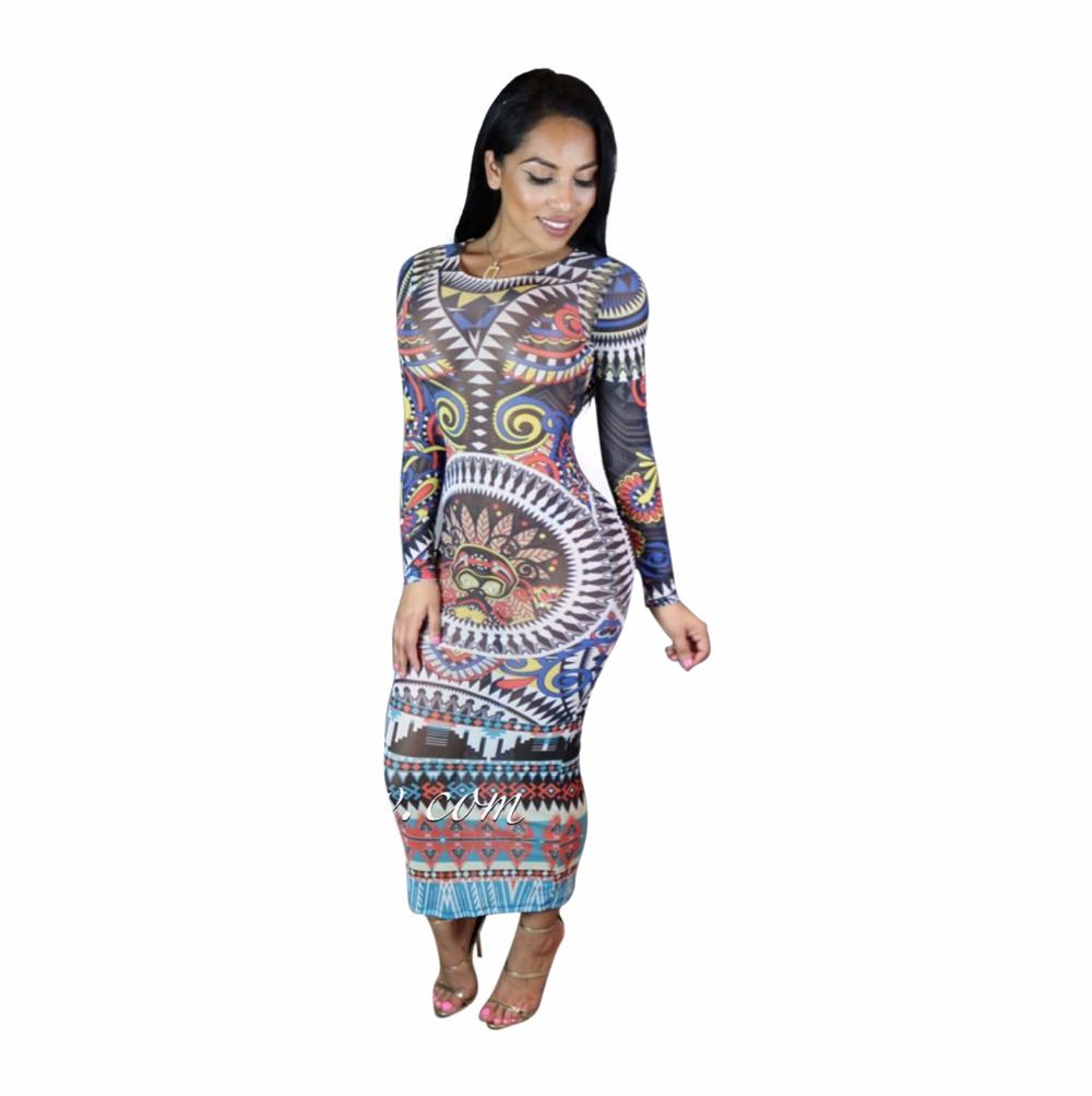 Find More Dresses Information about Women Sexy Tribal Print Mesh Feel  Bandage Bodycon Long Maxi Dress