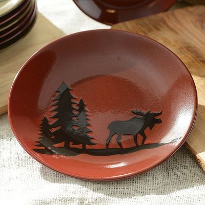 Red Woodland Moose Dinner Plate & Red Woodland Moose Dinner Plate | Moose Bears and Buffalos ...