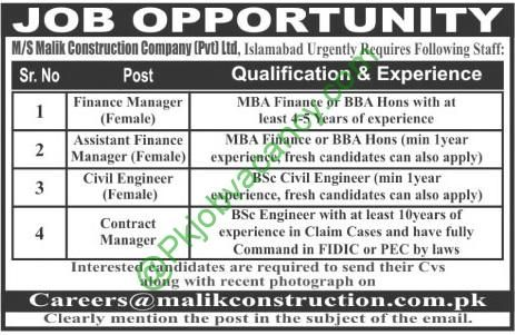 MS Malik Construction Company Mba Engineering Jobs  February