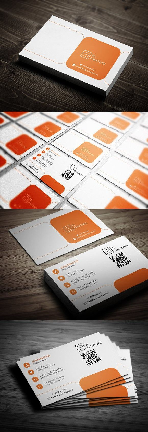 Orange Creative Business Card Visitenkarte Visitenkarten