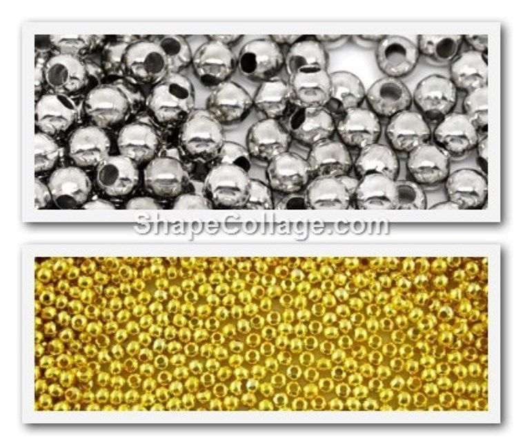 500 Silver Tone/Gold Plated Round Spacer Beads 3mm