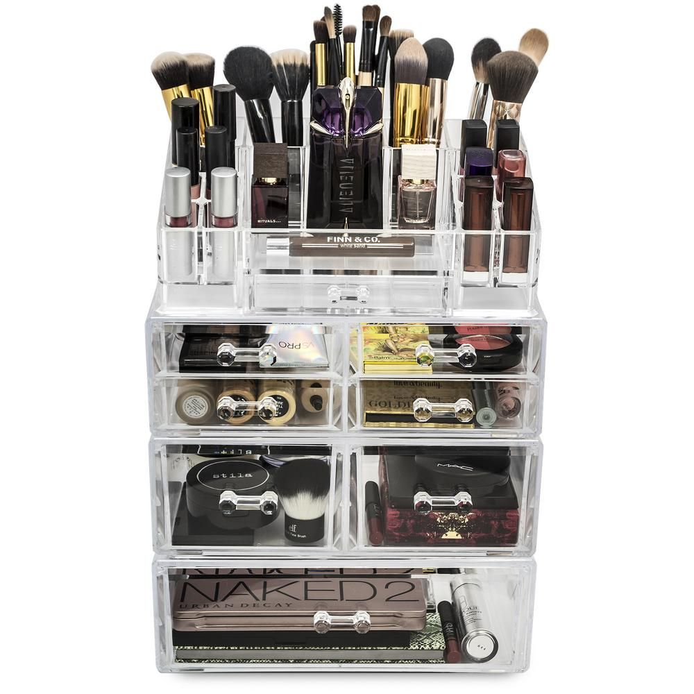 Sorbus 6.75 in. W x 15.25 in. H Stackable 1-Cube Cosmetic Organizer in Acrylic-MUP-SSET2-145 - The Home Depot
