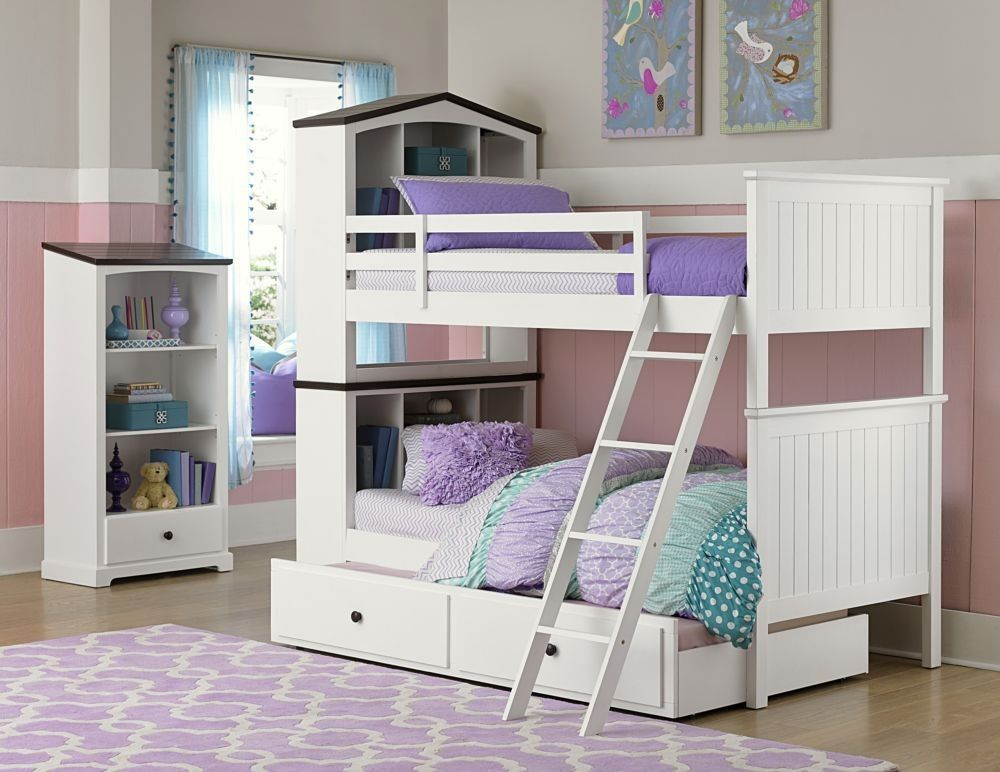 B2018 1 Cottage White Wood Kids Twin Twin Bookcase Bunk Beds