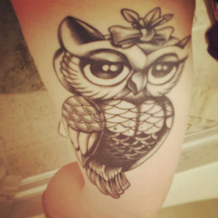 Little owl outline tattoo - photo#42
