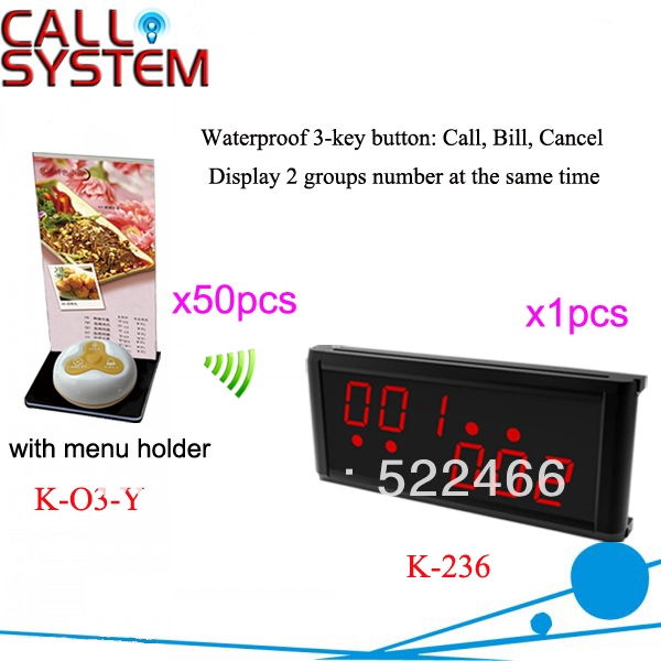 836.00$  Buy now - http://aliueq.shopchina.info/go.php?t=1005320481 - Wireless Calling System K-236+O3-Y+H with 3-key call bell and display receiver for wireless and quick service DHL free shipping  #SHOPPING