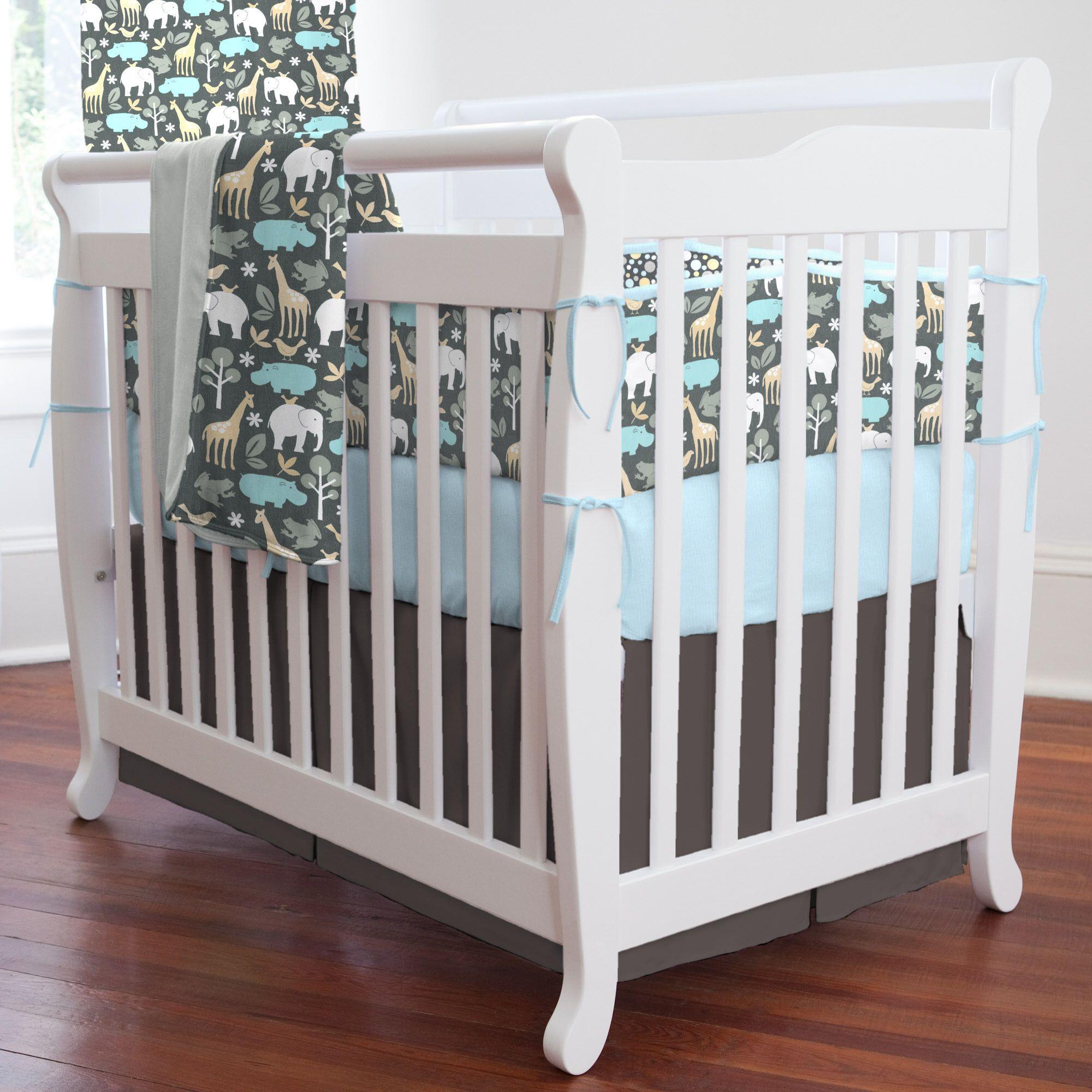Gray Zoology Portable Crib Bedding   Carousel Designs