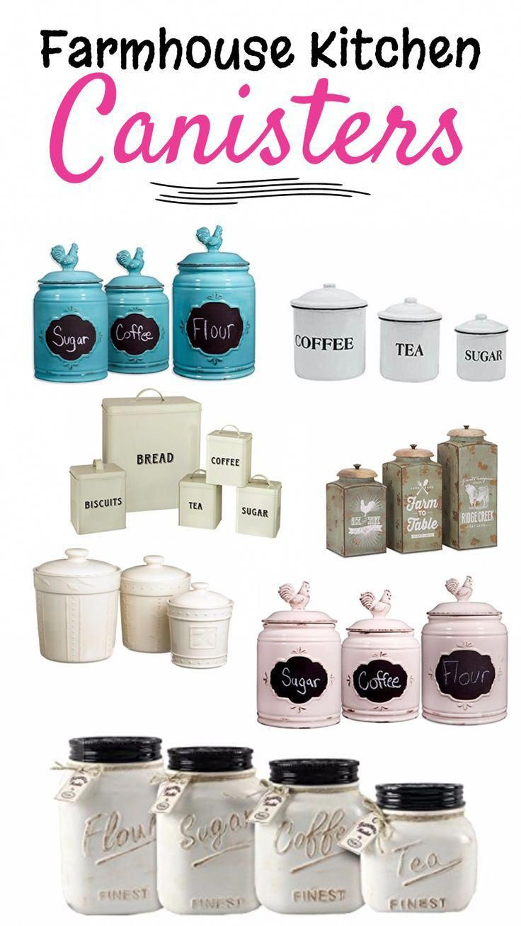 Great page with lots of great ideas for kitchen canisters sets that would look great in a white farmhouse kitchen, rustic kitchen, or with ANY kitchen decor.  Perfect storage solutions for the kitchen counter for your coffee, tea, sugar and flour canisters. #homedecor