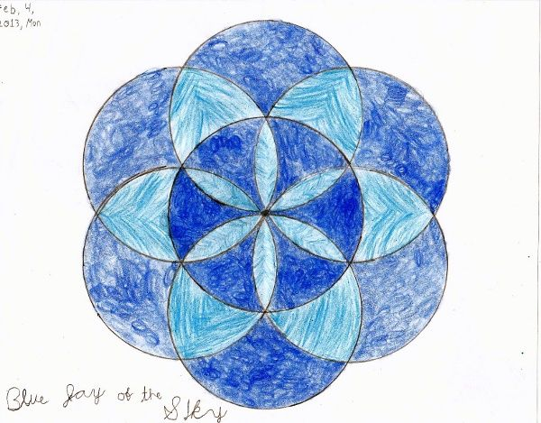 Geometric Art Project Seven Circle Flower Design Homeschool