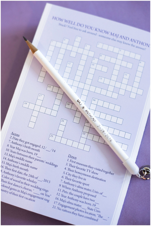 Wedding Crossword Puzzle Custom Wedding Pencil Diy Wedding Entertainment Guest Ente Wedding Crossword Puzzle Wedding Entertainment Fun Wedding Activities