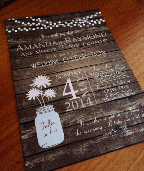 Rustic Country Wood Background Wedding Invitation With Light Strings And Mason Jar Flowers On Etsy 170