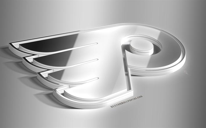 Download wallpapers Philadelphia Flyers, 3D steel logo