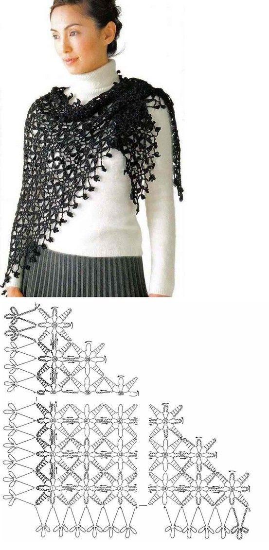 Gráfico elegante chal negro | 针织。 | Pinterest | Chal, Elegante y ...