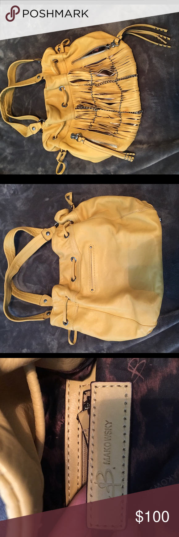 B. Makowsky yellow leather bag Cute cutout and metal details. In like new condition, only carried a few times. b. makowsky Bags Shoulder Bags