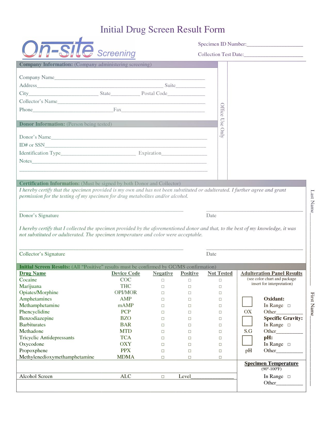 Drug Test Report Template Drug Test Drug Screening Report Template