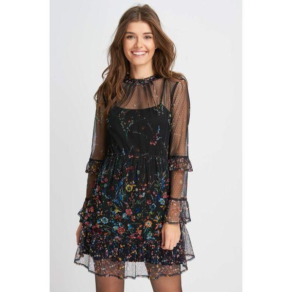 ORSAY Mesh-Kleid mit Print Schwarz Damen | Orsay kleider ...
