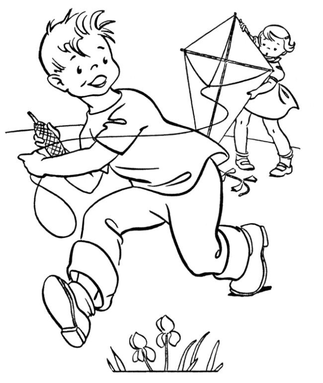 Cute kids flying a kite to color Kite Coloring Pages