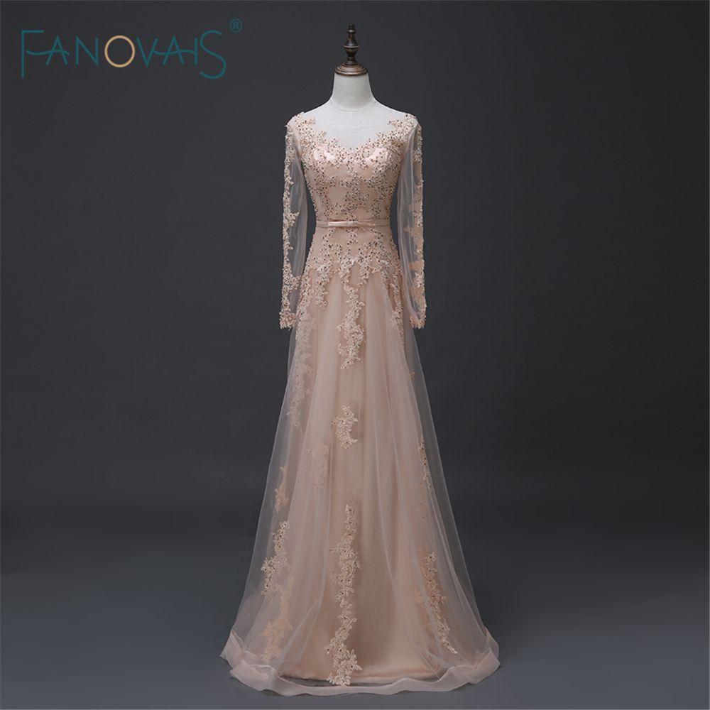 Woman long dress handbeaded long mesh sleeve floorlength