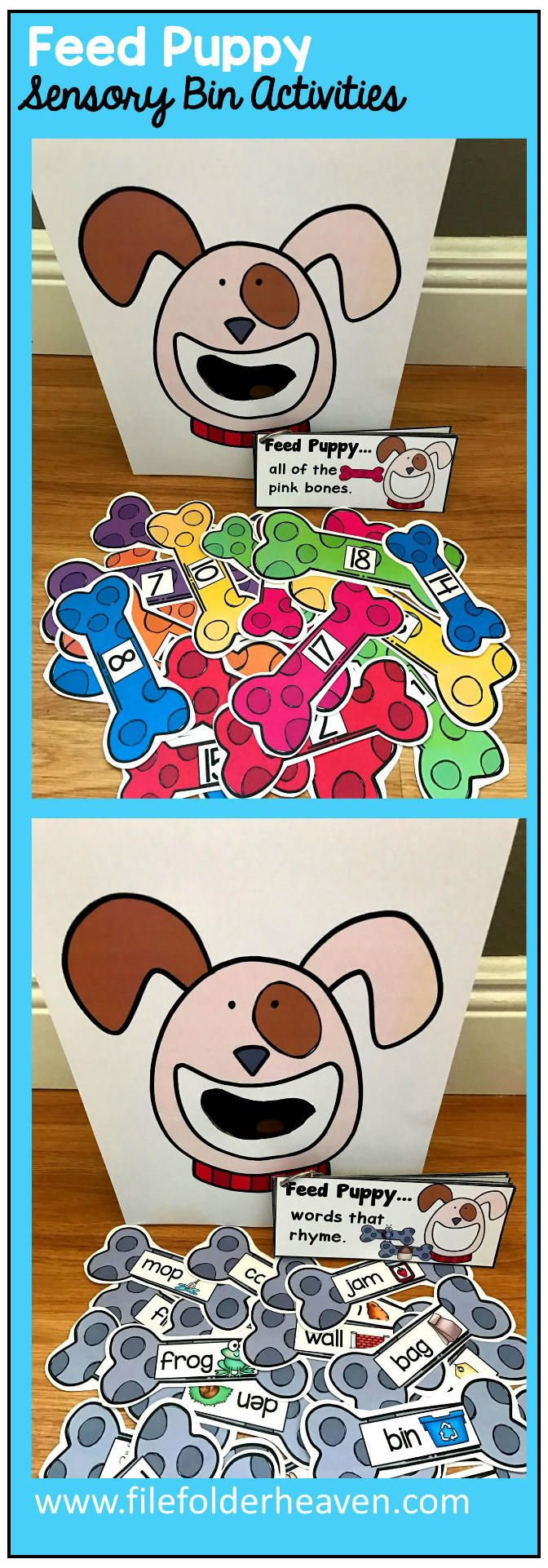 These Feed Puppy Activities are a GREAT addition to  any Pets or Puppy themed unit that you are working on in your classroom. There are so many ways to use this Feed Puppy Set.  I have left it very open ended so that you can target the skills you need to target in a small group setting. I have also included instruction cards for each set so that you can set the activity up as an independent center, and/or sensory bin activity. In the colors/sizes and numbers set, you can have students feed the p #sensorythings