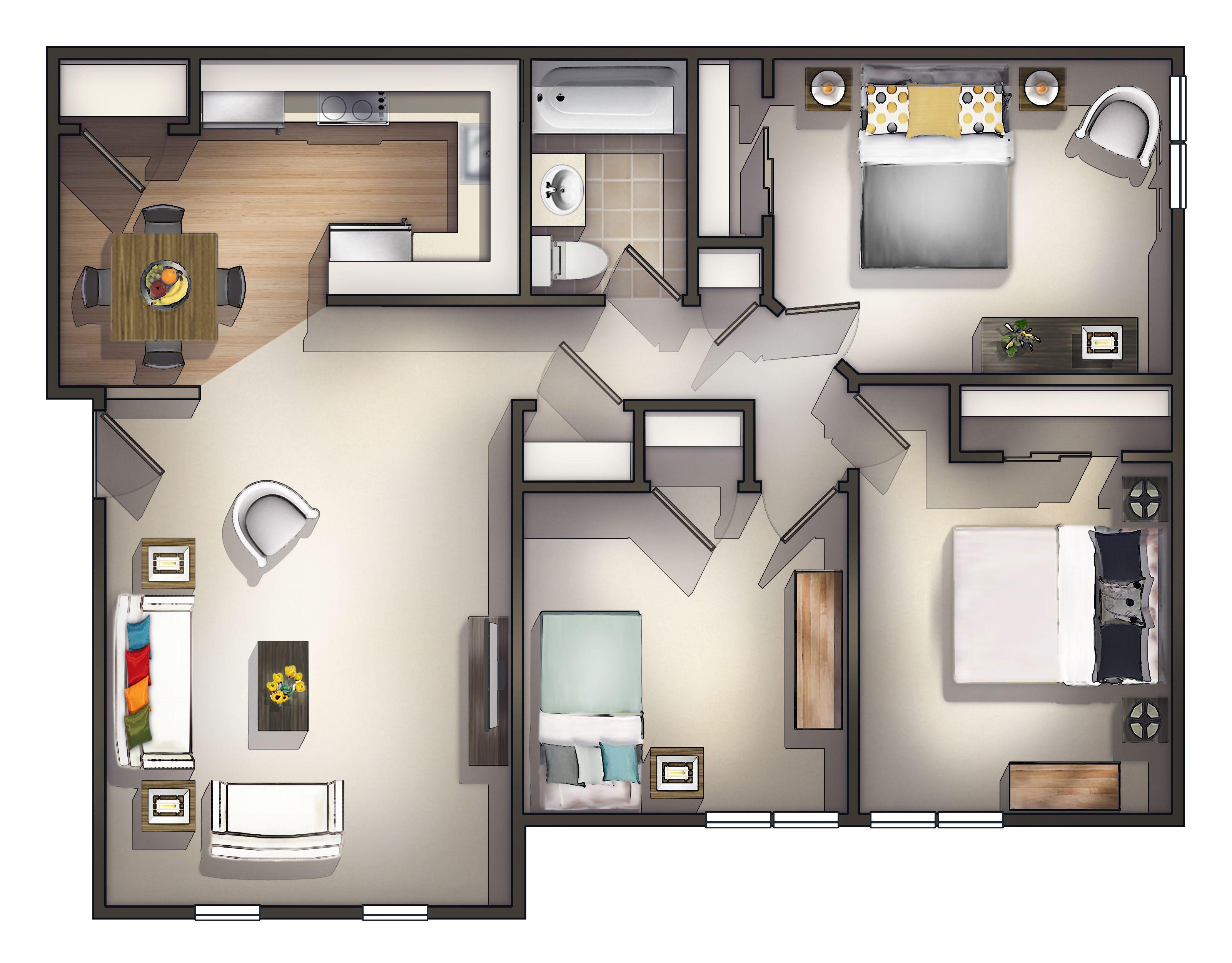 Drei Schlafzimmer Apartments Ideen Die moderne große