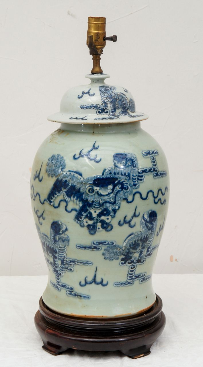 Large Chinese Ginger Jar Lamp Image 2