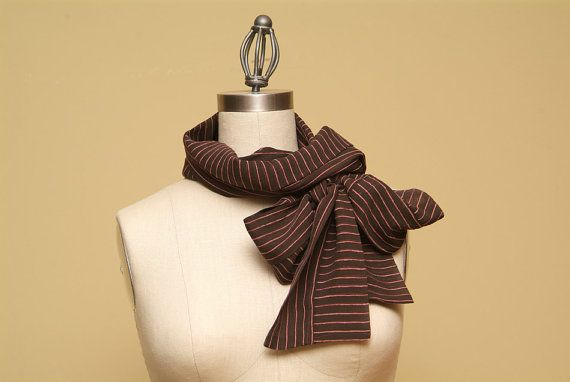 Brown Silk Chiffon Scarf with Pink Stripes  SALE  20 by Olimpias, $80.00