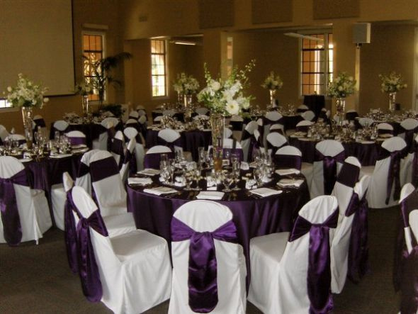 Awesome Purple Table Linen With White Seats Covers And Purple Sash Ties