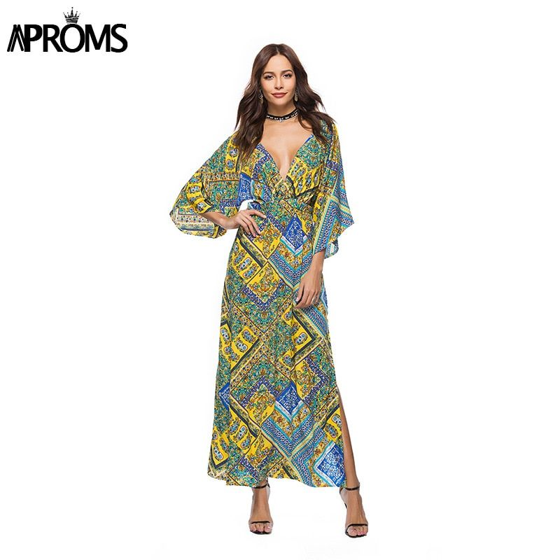 d7c35844aec4 Aproms 3/4 Sleeve Backless Lace Up Summer Maxi Dress Women Floral Print  Casual Long Dress 2018 Boho Loose Beach Dress Vestidos