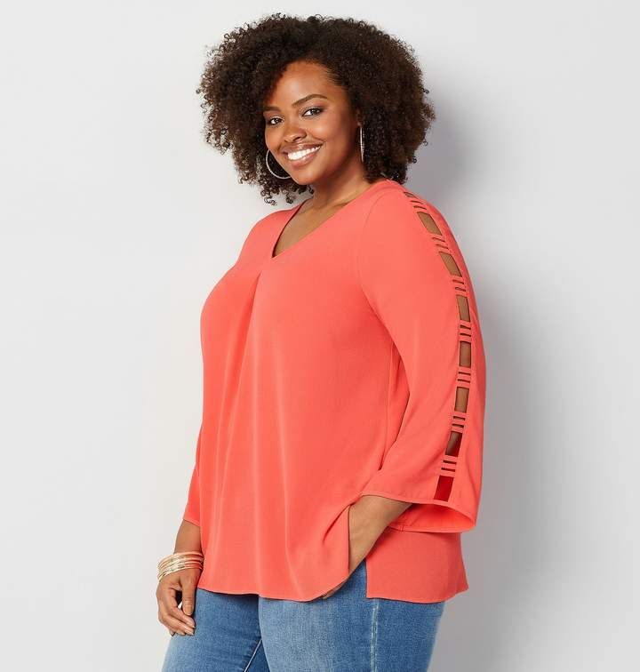 2cdf77a9401b0f Avenue Plus Size Cage Sleeve V-Neck Top | Products in 2019 | Plus ...