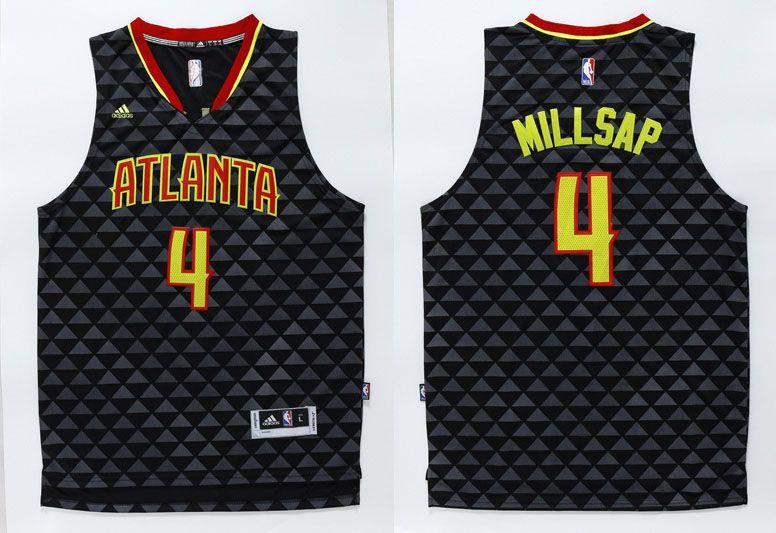 9e43c40c7 Atlanta Hawks  4 Millsap Black Men 2017 New Logo NBA Adidas Jersey ...