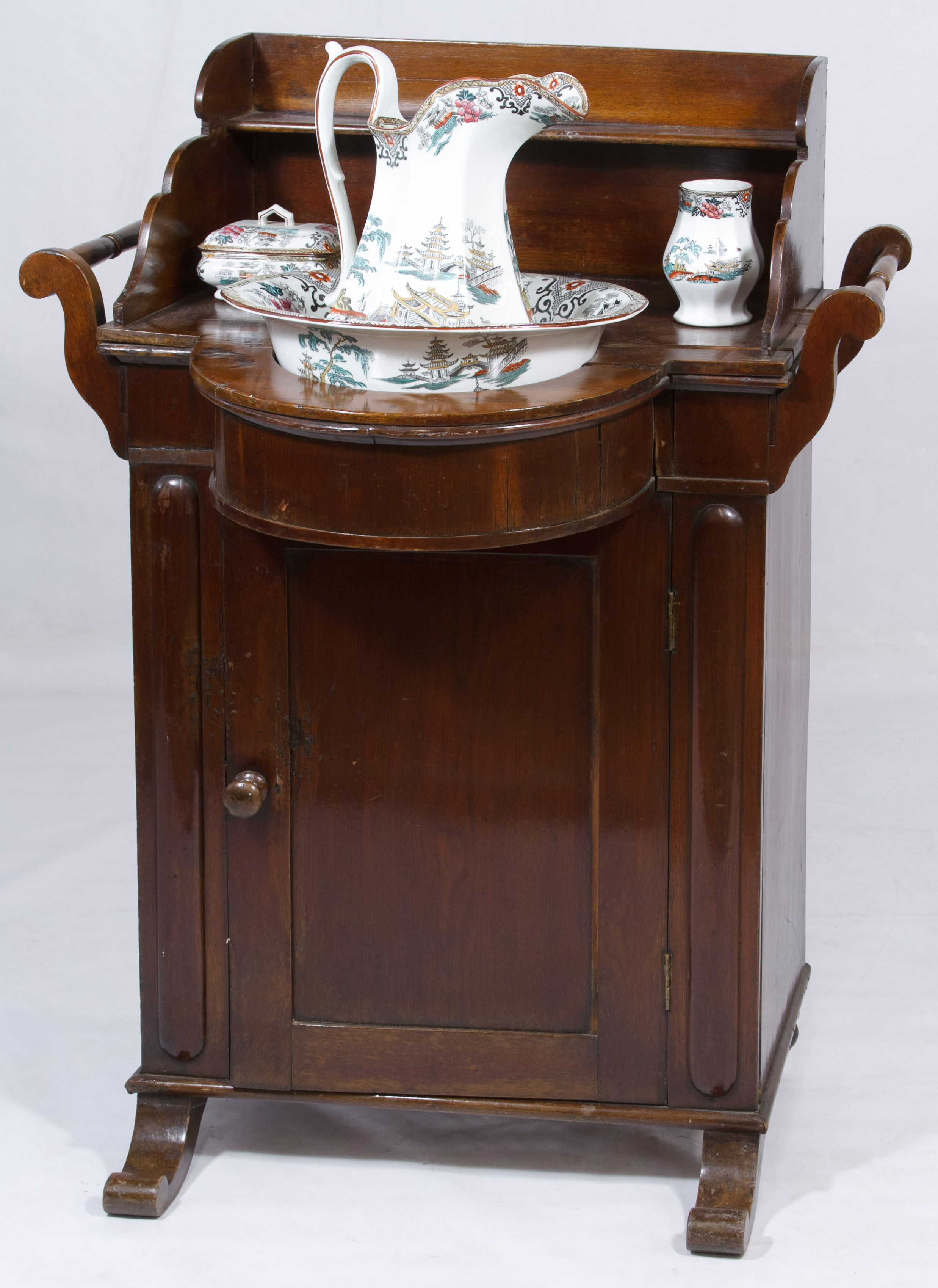 lot 57 victorian walnut wash stand and accessories including t