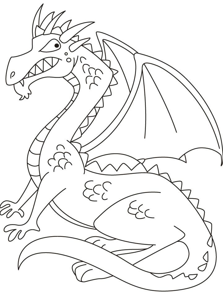 Medieval Dragon Coloring Pages | The fire emitting dragon bewares of it coloring pages