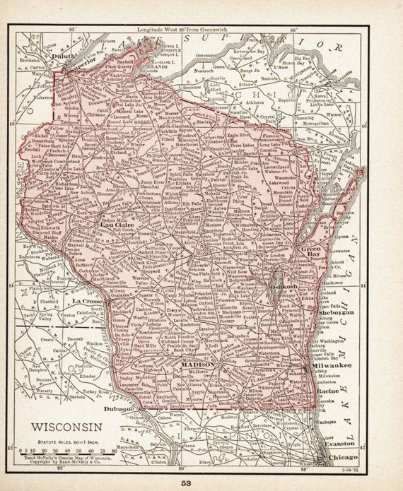 Small Wisconsin Map (Wall Art, Early 1900s Antique State Decor) No ...